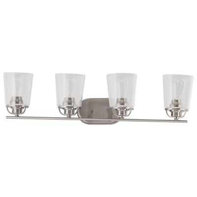 Inspiration 32.19 in. 4-Light Brushed Nickel Bathroom Vanity Light with Glass Shades