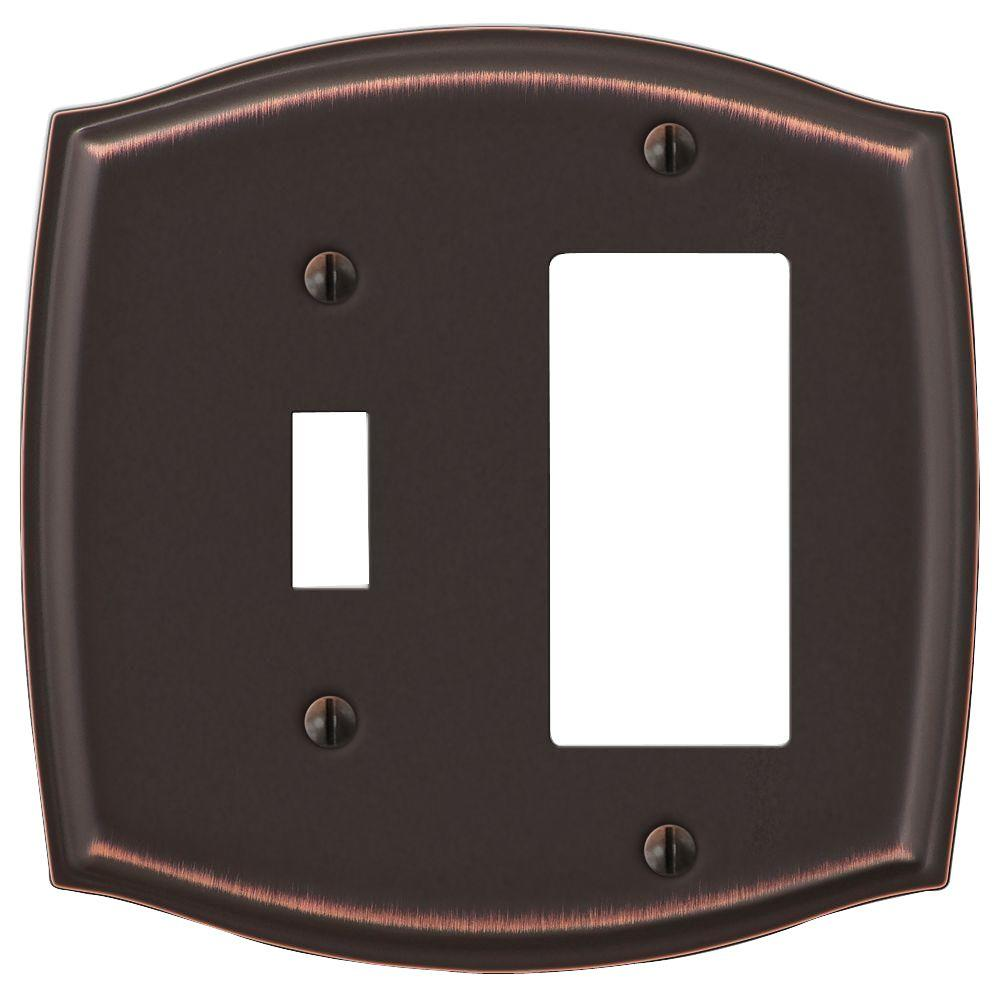AMERELLE Vineyard 2 Gang 1-Toggle and 1-Rocker Steel Wall Plate - Aged Bronze