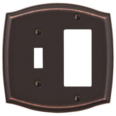 Vineyard 2 Gang 1-Toggle and 1-Rocker Steel Wall Plate - Aged Bronze