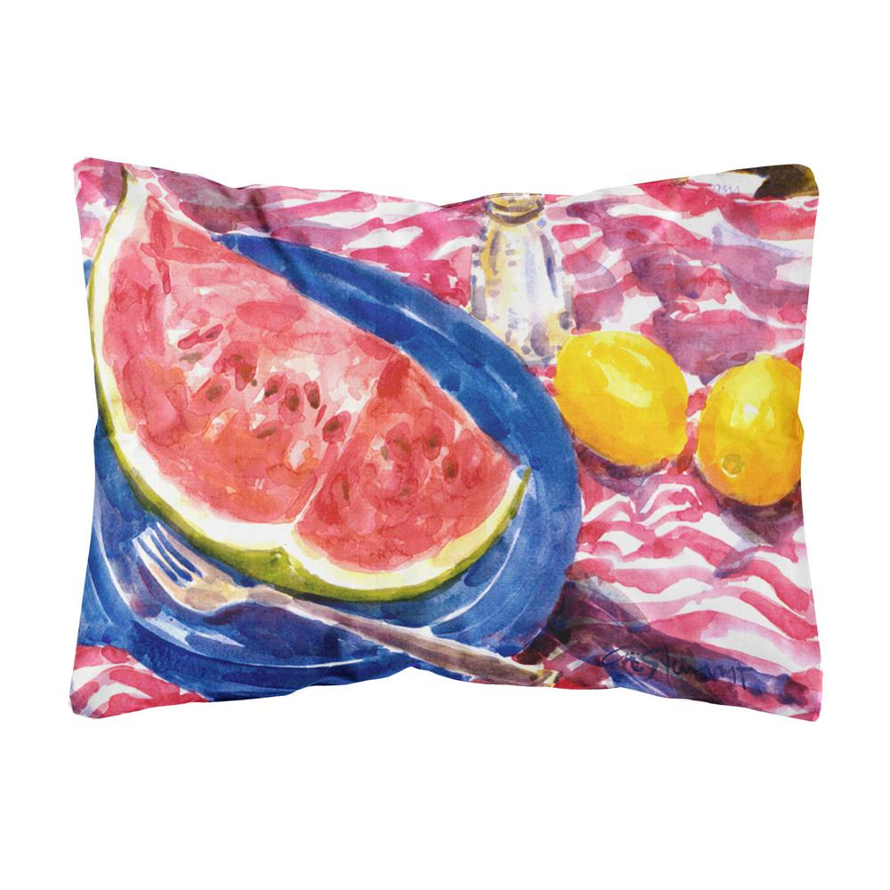 Caroline's Treasures 12 in. x 16 in. Multi-Color Lumbar Outdoor Throw Pillow with Watermelon Decorative Canvas Fabric Pillow