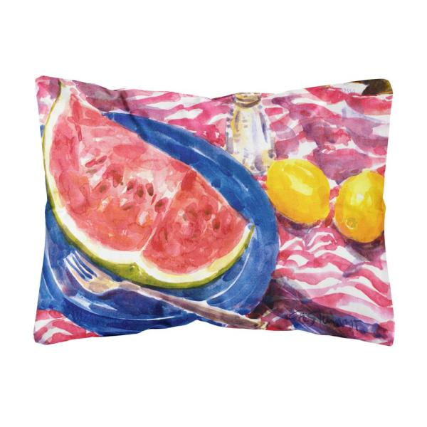12 in. x 16 in. Multi-Color Lumbar Outdoor Throw Pillow with Watermelon Decorative Canvas Fabric Pillow