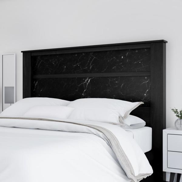 South Shore Gloria King Headboard 78 In with Lights Black Oak and Black Marble