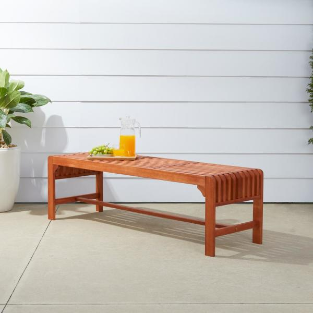 Malibu 3-Person Wood Outdoor Bench