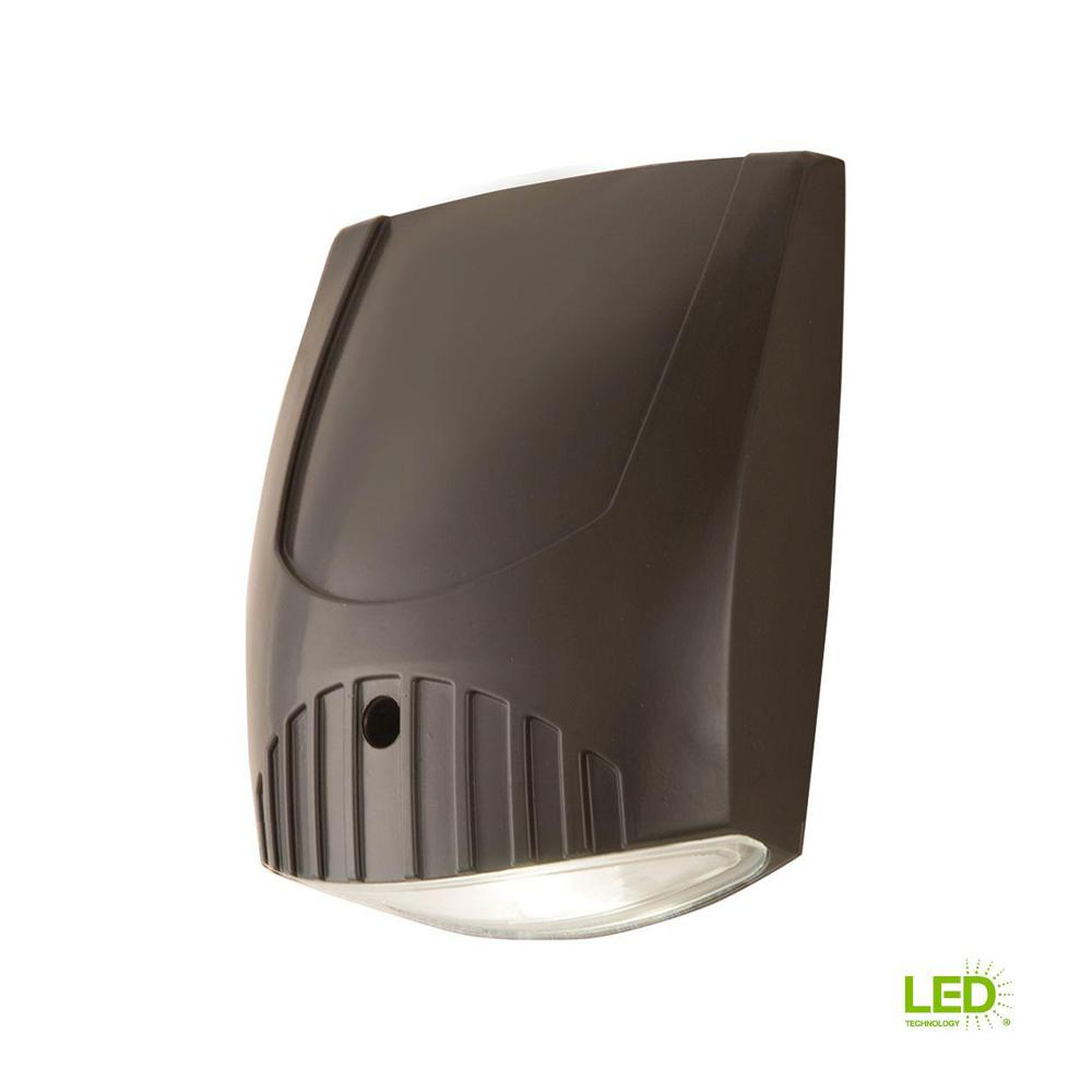 Bronze Integrated LED Outdoor Wall Pack Light with 1000 Lumens, 5000K