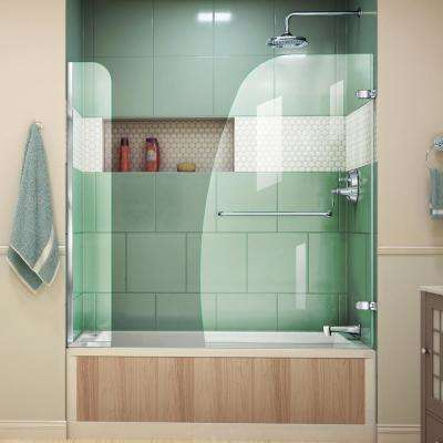 Aqua Uno 60 in. x 58 in. Semi-Frameless Hinged Tub/Shower Door with Extender in Chrome