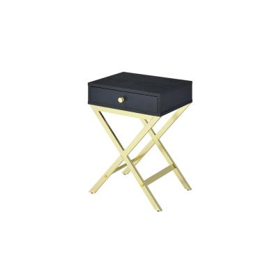 Coleen Black and Brass Side Table