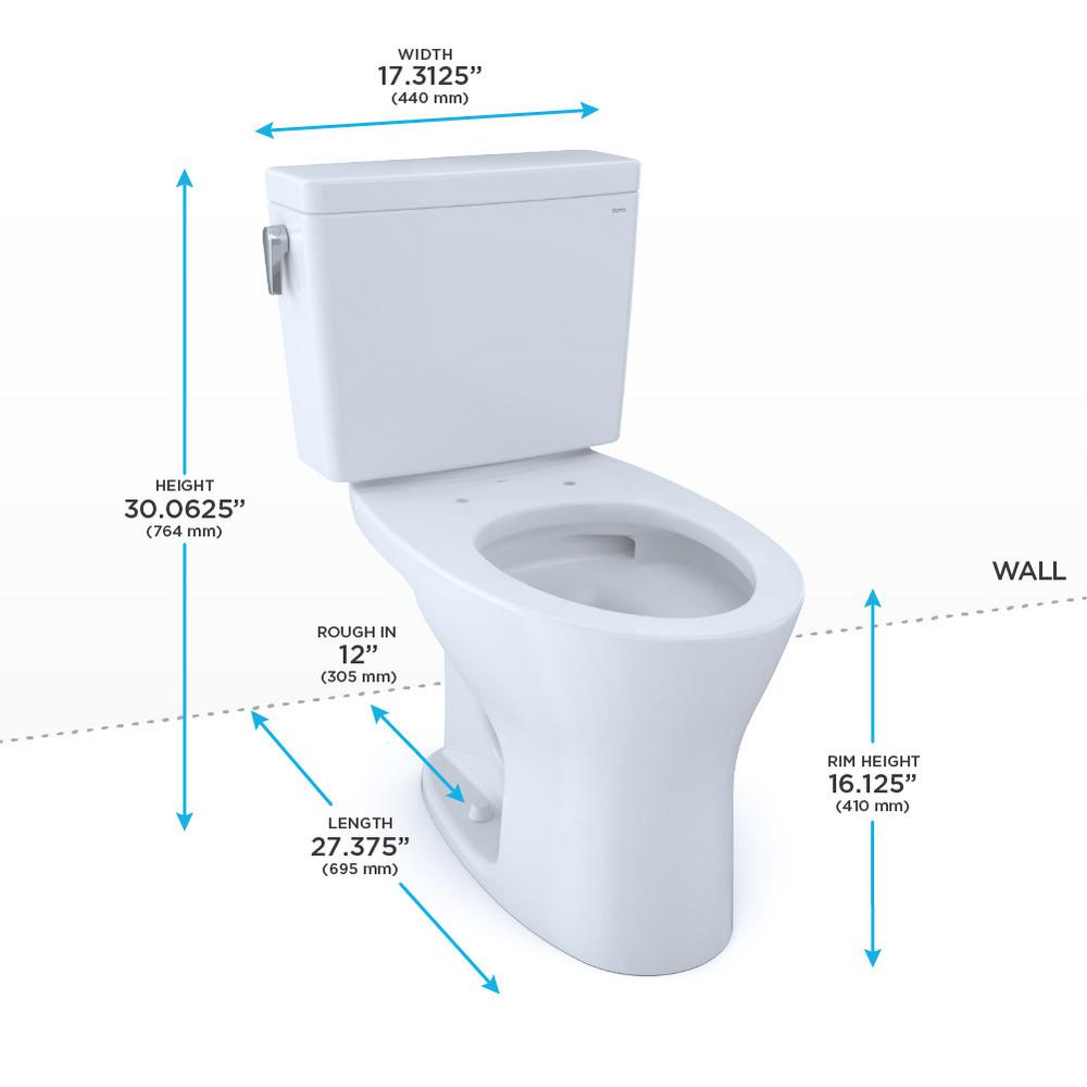 Toto Drake 2 Piece 1 28 0 8 Gpf Dual Flush Elongated Toilet In Cotton White Seat Not Included Cst746cemfg 01 The Home Depot