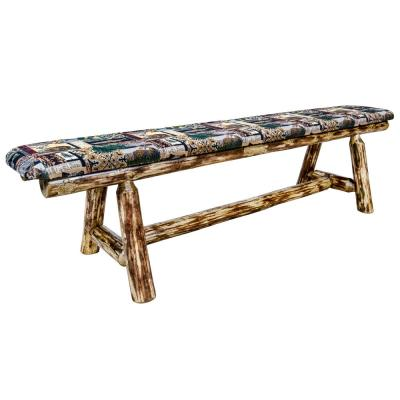 Glacier Country Collection 18 in. H Brown Wooden Bench with Woodland Pattern Upholstered Seat, 6 Foot Length