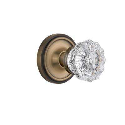 Classic Rosette Double Dummy Crystal Glass Door Knob in Antique Brass