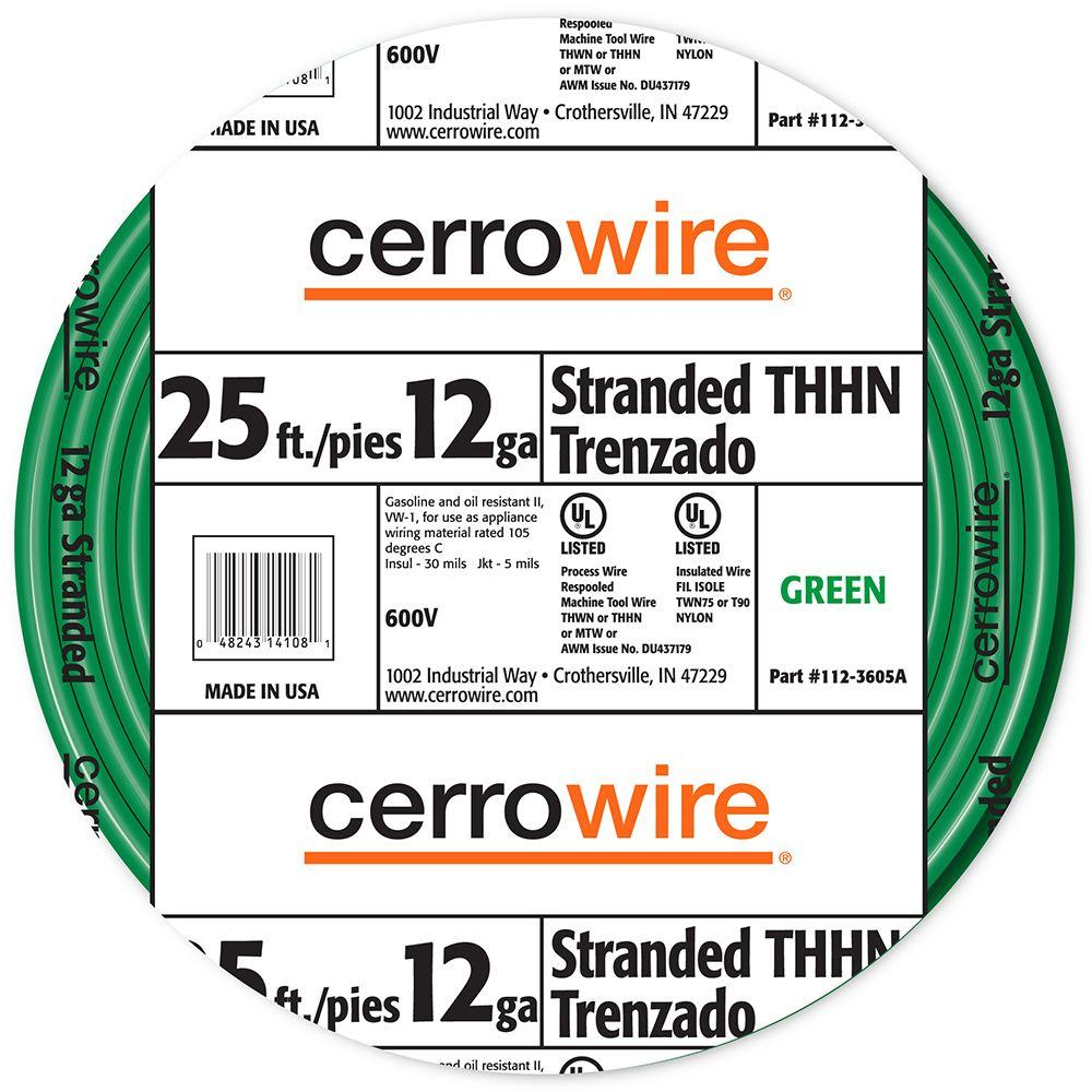 Cerrowire 25 ft. 12/19 Green Stranded THHN Wire-112-3605A - The Home ...