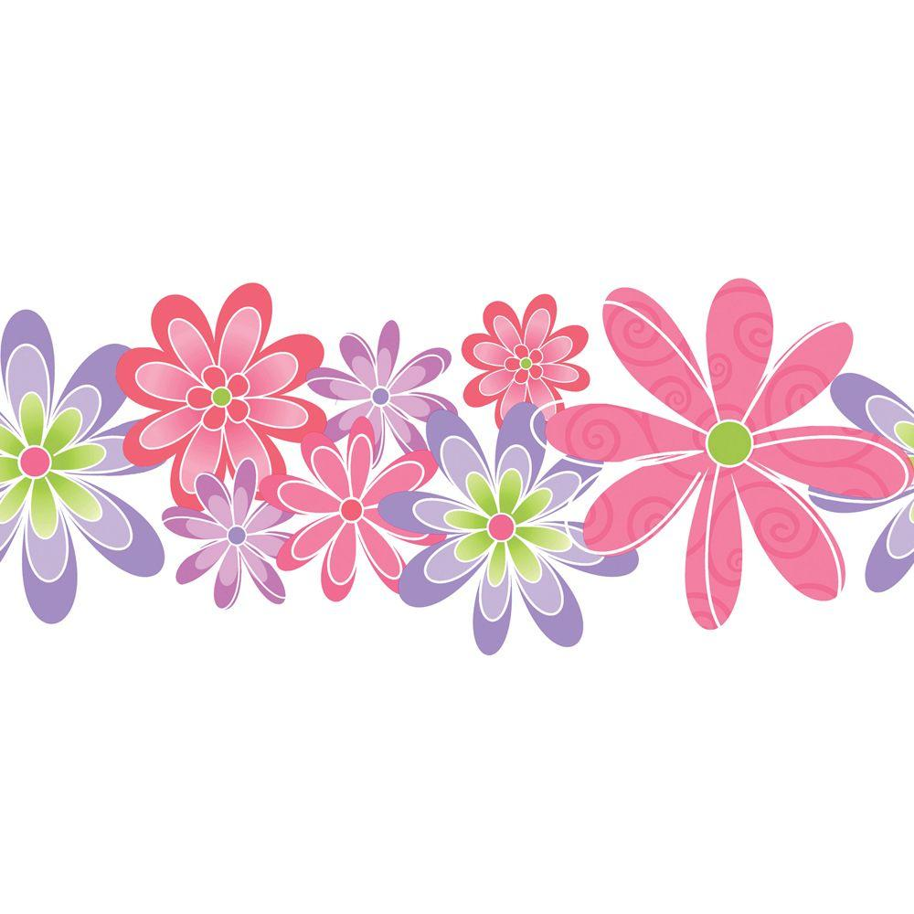 The Wallpaper Company 11 in. x 15 ft. Brightly Colored Contemporary Flowers Border
