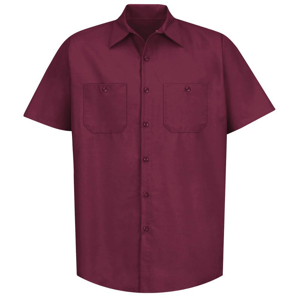 Men's Size 4XL Burgundy Industrial Work Shirt