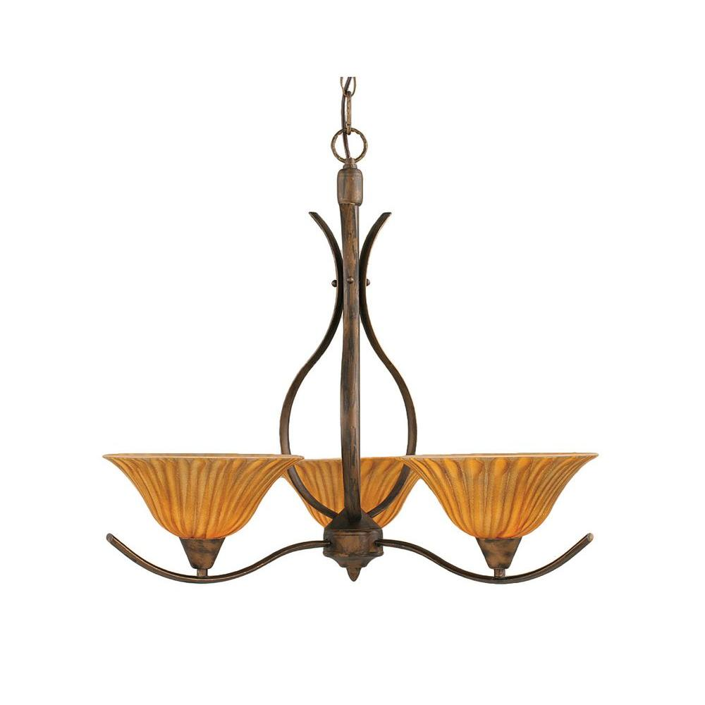 Concord 3-Light Bronze Chandelier with Tiger Glass