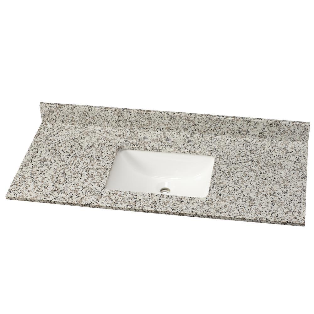 49 in. W Granite Single Vanity Top in Blanco Taupe with White Basin