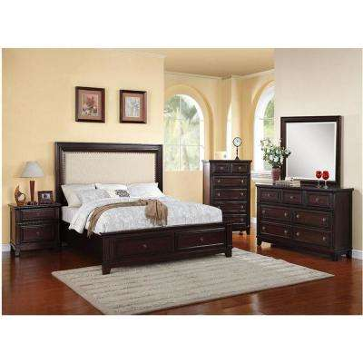 Willow Storage 5 Piece Espresso Bedroom Suite: King Bed, Dresser, Mirror, Chest, Nightstand