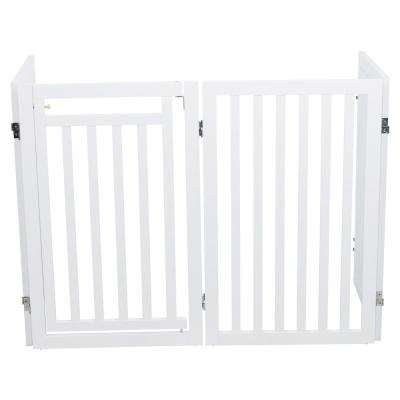 White Pet Gate Wooden 4-Panel Configurable Pet Gate