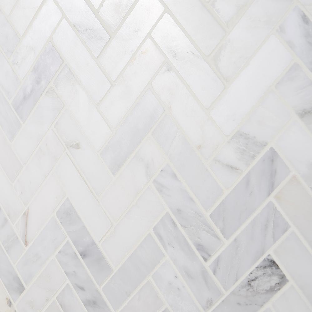 Splashback Tile ORIENTAL HERRINGBONE Oriental Sculpture Herringbone 12 x 8mm Marble Mosaic Floor and Wall Tile