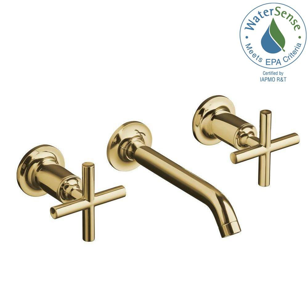 KOHLER Purist Wall-Mount 2-Handle Water-Saving Bathroom Faucet Trim Kit in Vibrant Modern Polished Gold