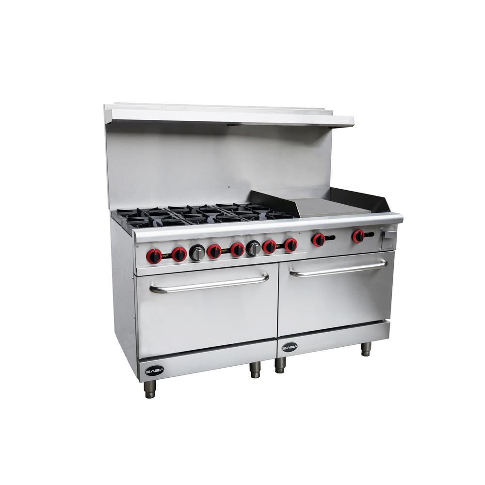 Awe Inspiring Saba 60 In 5 9 Cu Ft Commercial 6 Burner Double Oven Gas Range And Griddle In Stainless Steel Home Interior And Landscaping Ponolsignezvosmurscom