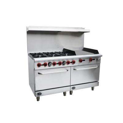 60 in. 5.9 cu. ft. Commercial 6 Burner Double Oven Gas Range and Griddle in Stainless Steel