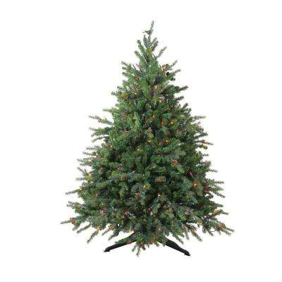 54 in. Pre-Lit Hunter Fir Full Artificial Christmas Tree with Multi-Lights