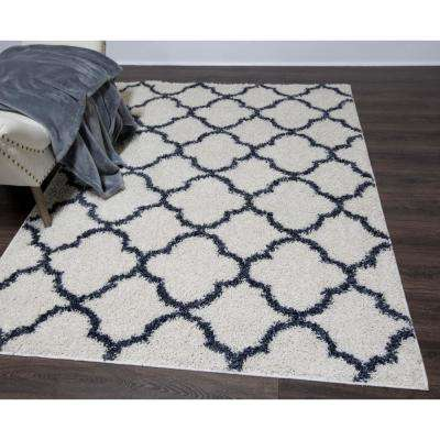Synergy White/Blue 8 ft. x 10 ft. Indoor Area Rug
