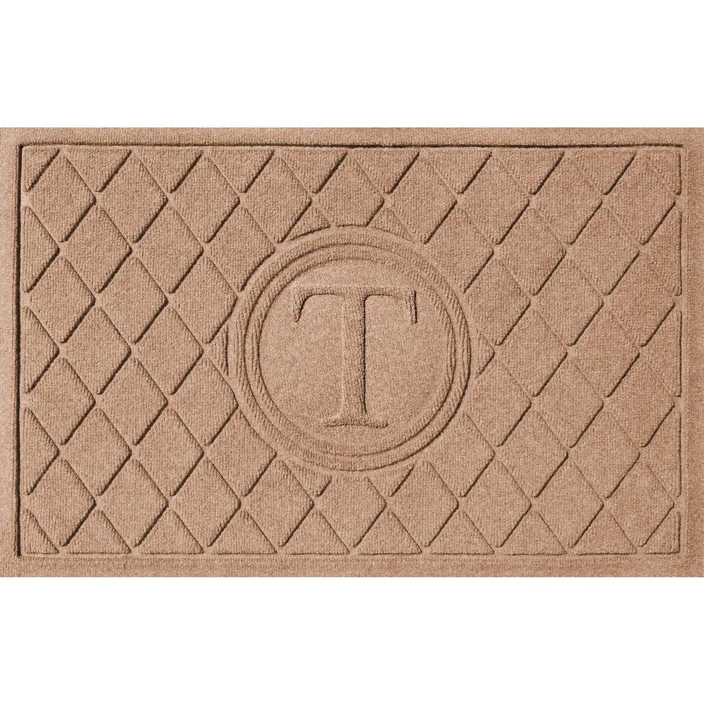 Bungalow Flooring Argyle Medium Brown 24 in. x 36 in. Monogram T Door Mat