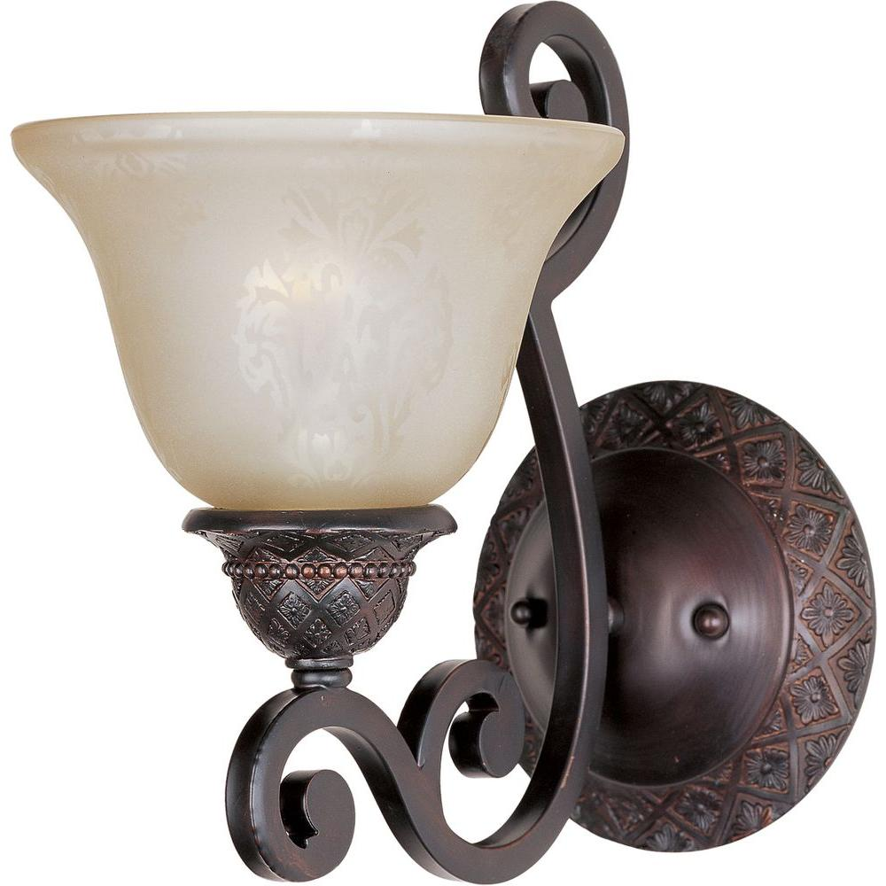Maxim lighting symphony 1 light oil rubbed bronze sconce 11246saoi the home depot for Bathroom wall sconces oil rubbed bronze