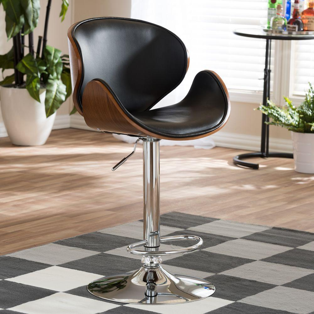 Gentil Baxton Studio Crocus Brown Wood And Black Faux Leather Adjustable Bar Stool