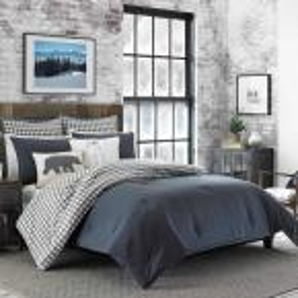 Kingston 2-Piece Charcoal Plaid Reversible Cotton Twin Comforter Set