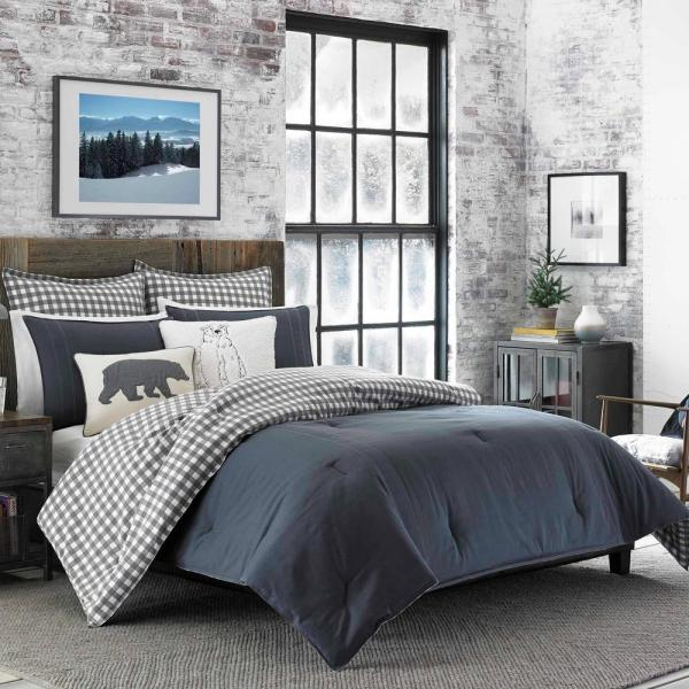 Kingston 3-Piece Charcoal Plaid Reversible Cotton King Comforter Set