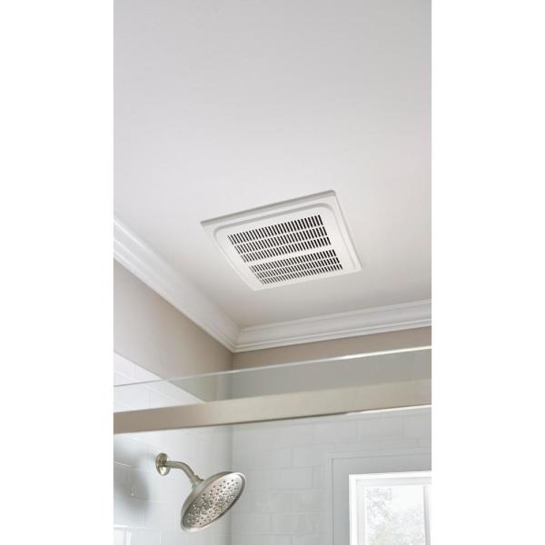 Hampton Bay 140 Cfm Ceiling Mount Quick Connect Humidity Sensing Bathroom Exhaust Fan 7136 01 The Home Depot