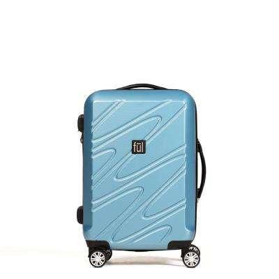 Scribble 25 in. Carolina Blue ABS Hard Case Upright Spinner Rolling Luggage Suitcase