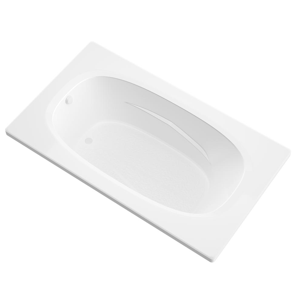 Universal Tubs Tiger's Eye 6 ft. Acrylic Reversible Drain Rectangular Drop-in Non-Whirlpool Bathtub in White