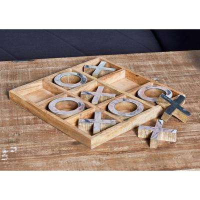 Brown Wood and Brass Tic Tac Toe Set with Silver Accents