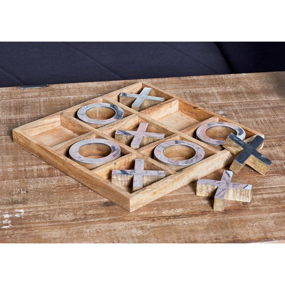 Litton Lane Brown Wood And Brass Tic Tac Toe Set With Silver Accents
