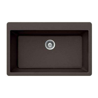 Quartztone Drop-In Composite Granite 33 in. Single Bowl Kitchen Sink in Mocha