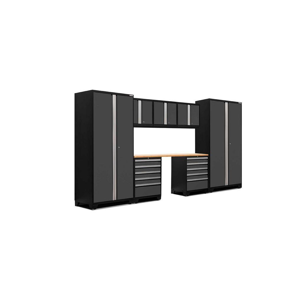 Pro 3.0 83.25 in. H x 156 in. W x 24 in. D 18-Gauge Welded Steel Bamboo Worktop Cabinet Set in Gray (8-Piece)