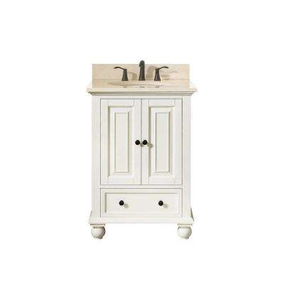 Thompson 25 in. W x 22 in. D x 35 in. H Vanity in French White with Marble Vanity Top in Galala Beige with White Basin