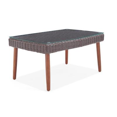 Athens 35 in. L All-Weather Wicker Outdoor Coffee Table with Glass Top