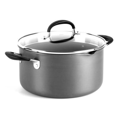 Good Grips 6 qt. Hard-Anodized Aluminum Nonstick Stock Pot in Gray with Glass Lid