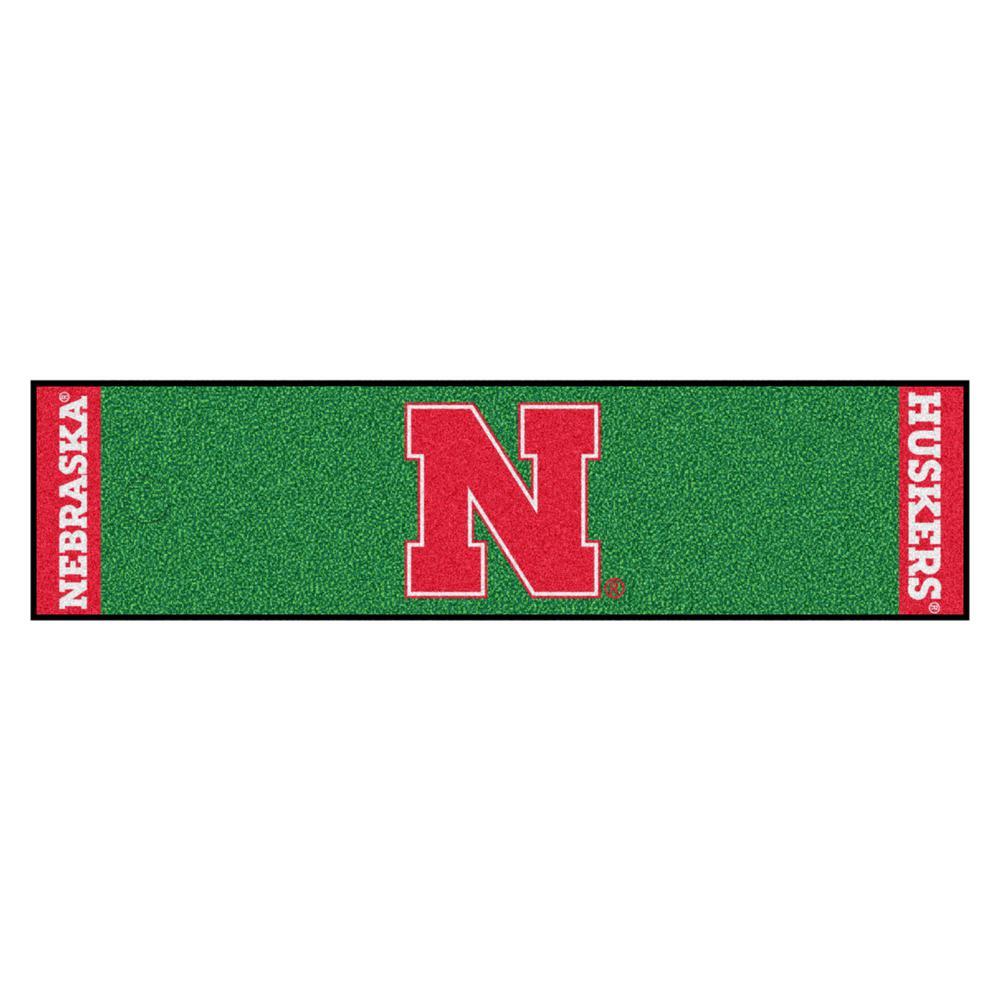 NCAA University of Nebraska 1 ft. 6 in. x 6 ft. Indoor 1-Hole Golf Practice Putting Green
