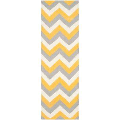 Dhurries Gold/Gray 3 ft. x 8 ft. Runner Rug