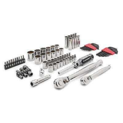 1 /4 in. and 3/8 in. Drive 6 and 12 Point Standard and Deep SAE/Metric Mechanics Tool Set (84-Pieces)