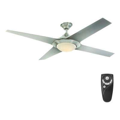 Folsom 60 in. LED Indoor Brushed Nickel Ceiling Fan with Light Kit and Remote Control