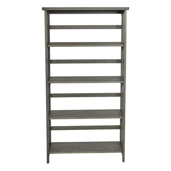 60.25 in. Gray Wood 4-shelf Standard Bookcase with Folding Assembly