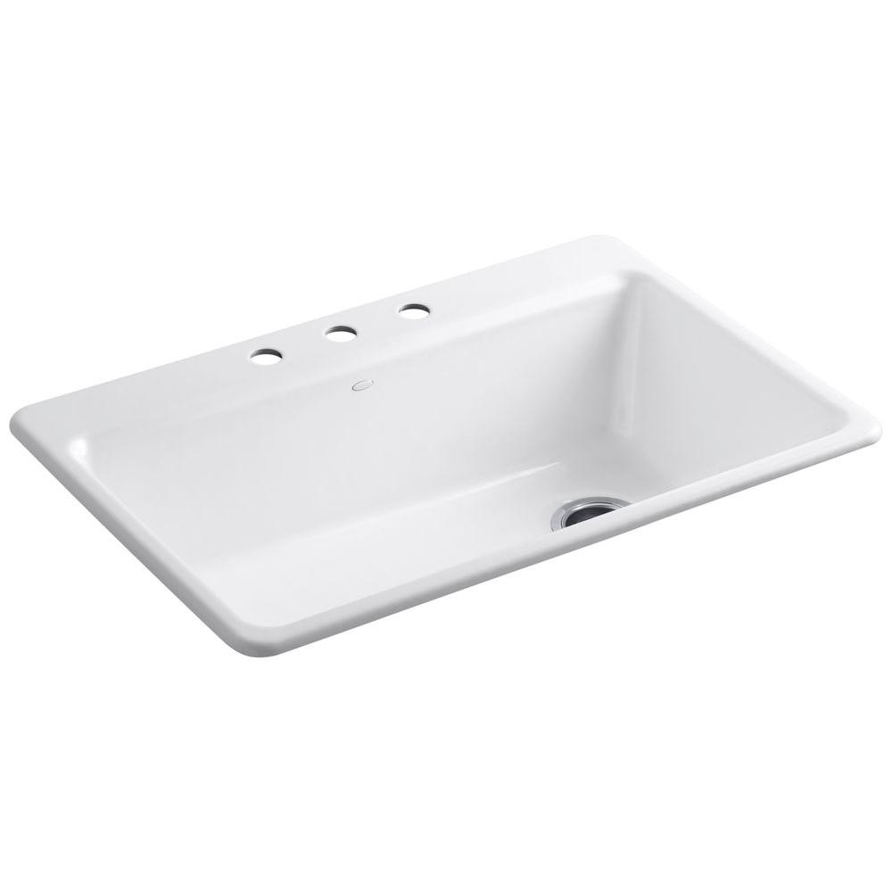 KOHLER Riverby Drop-In Cast Iron 33 in. 3-Hole Single Bowl Kitchen ...