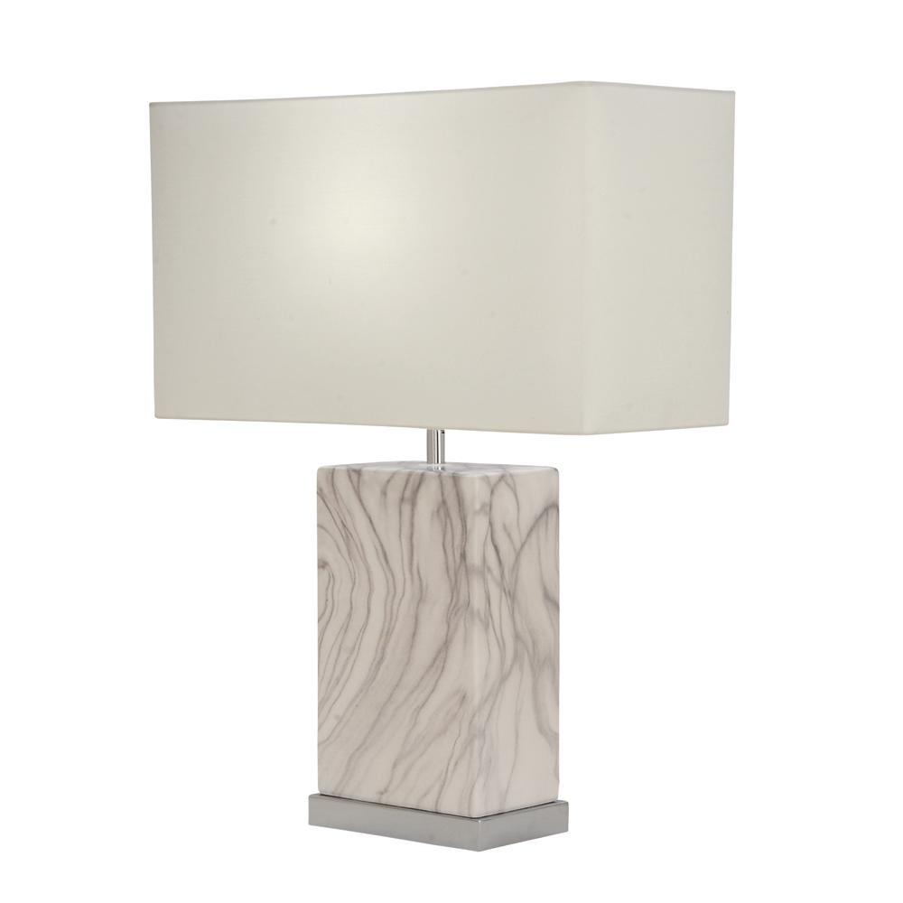Litton Lane 23 in. Decorative Rectangular White and Silver Ceramic Table