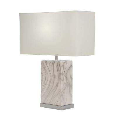 23 in. Decorative Rectangular White and Silver Ceramic Table Lamp