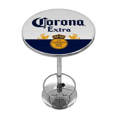 Corona Label Design Chrome Pub/Bar Table